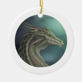 Serenidad draconiana adorno navideño redondo de cerámica