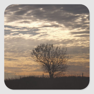 Serenidad en la puesta del sol pegatina cuadrada