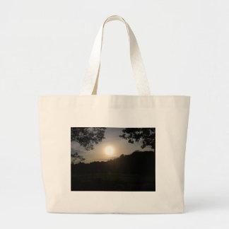 Serenidad, puesta del sol bolsa de tela grande