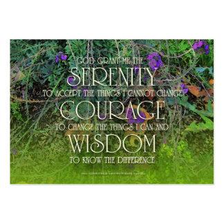 Serenidad, valor, tarjeta del rezo de la sabiduría tarjetas de visita grandes