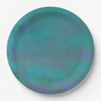 Serenidad verde y púrpura abstracta plato de papel de 9 pulgadas