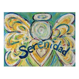 Serenidad Word Inspirational Angel Postcard