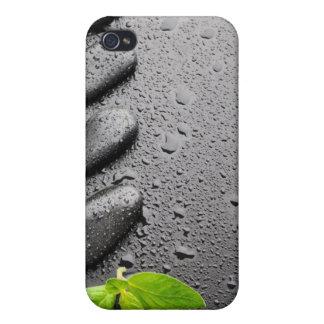 Serenidad…. ZENES Stone con las hojas de menta iPhone 4 Fundas