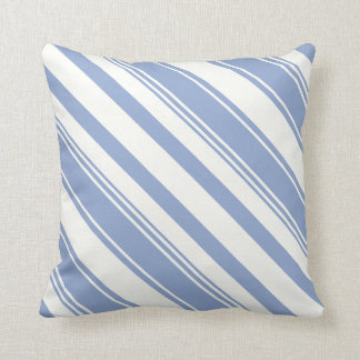 Serenity Blue Diagonal Stripes Throw Pillow