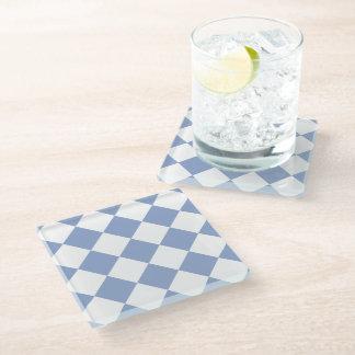 Serenity Blue Diamond Pattern Glass Coaster