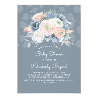 Serenity Blue Peach and Rose Floral Baby Shower Card