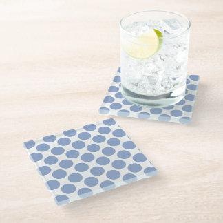 Serenity Blue Polka Dots Glass Coaster