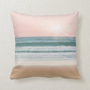 Beach Themed Serenity Blue Rose quartz Beach sunset pillow