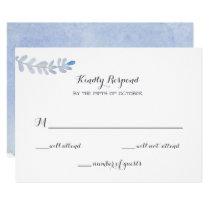 serenity blue Watercolor Wedding rsvp Card