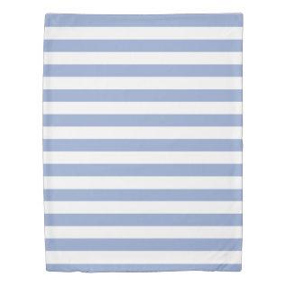 Serenity Blue & White Striped Duvet Cover at Zazzle