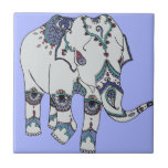 """Serenity Boho Elephant Tile<br><div class=""""desc"""">This beautiful elephant print was inspired by bohemian patterns and a contemporary colour palette.</div>"""