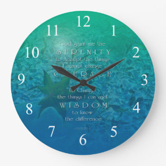 Serenity Courage Wisdom Blue Green Large Clock