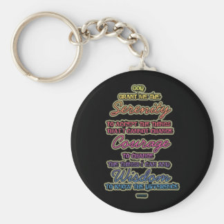Serenity Courage Wisdom Colorful Text on Black Keychain