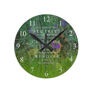 Serenity Courage Wisdom Green & Purple Flowers Wal Round Clock