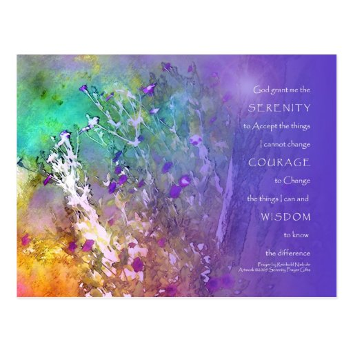 Serenity, Courage, Wisdom Prayer Postcard