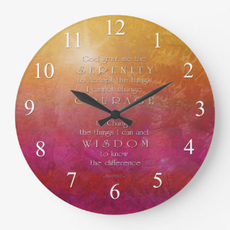 Serenity Courage Wisdom Red Orange Wall Clock