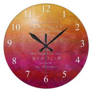 Serenity Courage Wisdom Red Orange Wall Clock