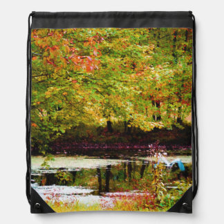 Serenity (Digital Oil on Canvas Simulation) Drawstring Bags