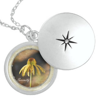 Serenity Echinacea Floral Round Locket Necklace