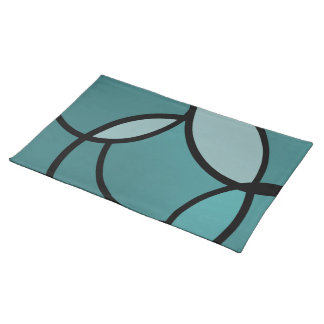 Serenity light blue and black placemat