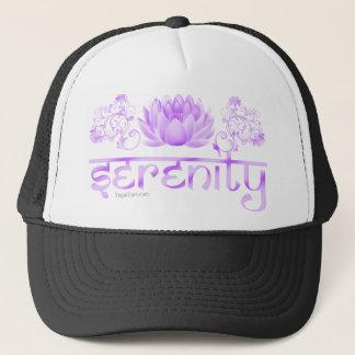 Serenity lotus in purple trucker hat