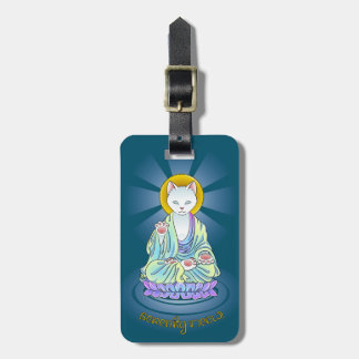 Serenity Meow Personalized Buddha Cat Bag Tag