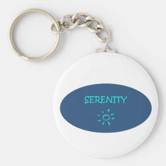 serenity now basic round button keychain