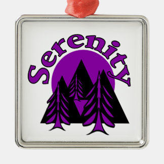 Serenity Square Metal Christmas Ornament
