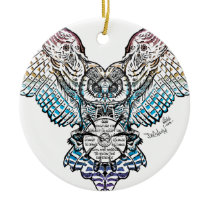Serenity Owl Ceramic Ornament
