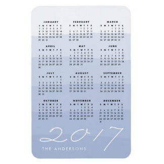 Serenity | Personalized Watercolor 2017 Calendar Magnet
