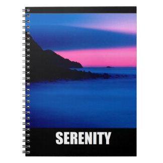 Serenity Pink Blue Ocean Sunset Sunrise Notebook