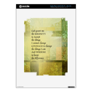 Serenity Prayer Abstract Landscape Green Skins For iPad 3