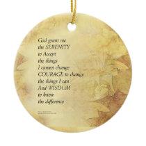 Serenity Prayer Abstract Sunflower Ceramic Ornament