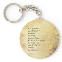 Serenity Prayer Abstract Sunflower Keychain