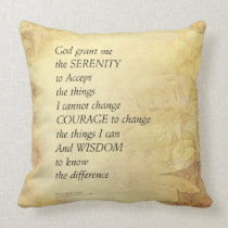 Serenity Prayer Abstract Sunflower Throw Pillow