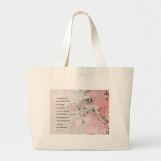 Serenity Prayer Almond Blossoms Pink Large Tote Bag