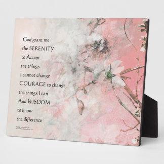 Serenity Prayer Almond Blossoms Pink Plaque