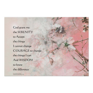 Serenity Prayer Almond Blossoms Pink Poster