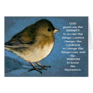 SERENITY PRAYER AND JUNCO ARTWORK GREETING CARD