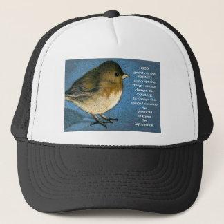 SERENITY PRAYER AND JUNCO ARTWORK TRUCKER HAT