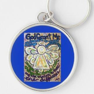 Serenity Prayer Angel Art Painting Keychain