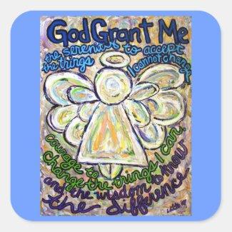 Serenity Prayer Angel Art Painting Stickers