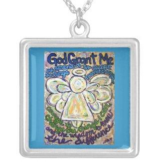 Serenity Prayer Angel Art Silver Necklace Charm