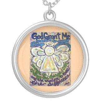 Serenity Prayer Angel Art Silver Necklace Pendant
