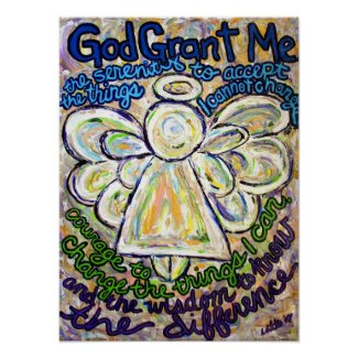 Serenity Prayer Angel Painting Poster (Medium)