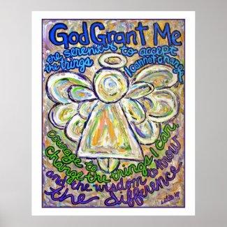 Serenity Prayer Angel Poster (White Edge) print