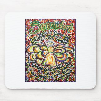 Serenity Prayer Angel (Spanish Text) Mouse Pad