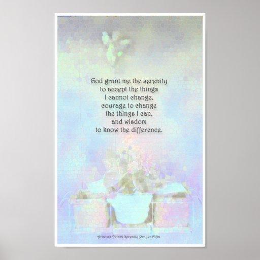 Serenity Prayer  Angel Violets Blue Poster