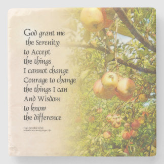 Serenity Prayer Apple Branches Stone Coaster