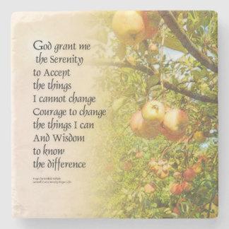 Serenity Prayer Apple Branches Stone Coaster